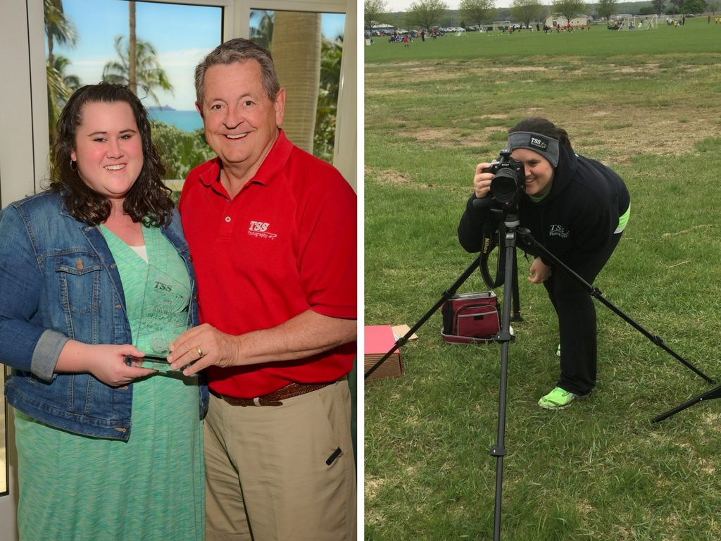 Two photos in a collage of a woman accepting an award and the second is her with a camera taking photos on a soccer field.