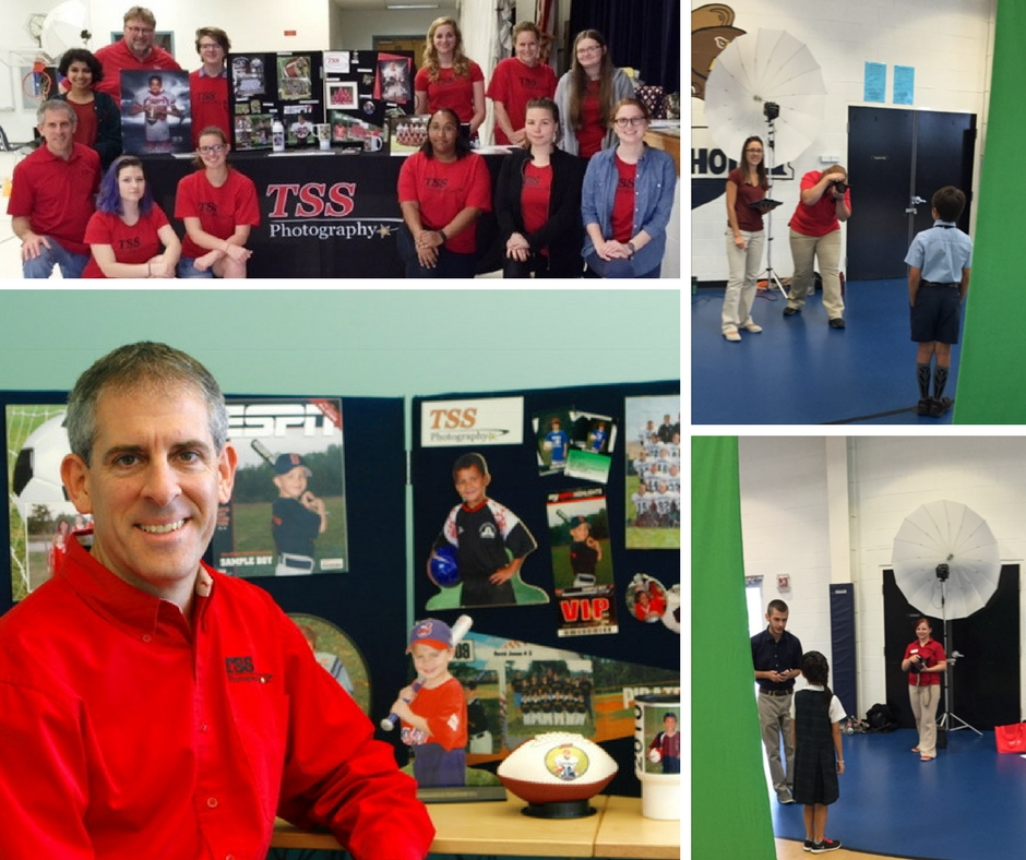 Collage of pictures showcasing sports photography and the people dressed in red who take the photos
