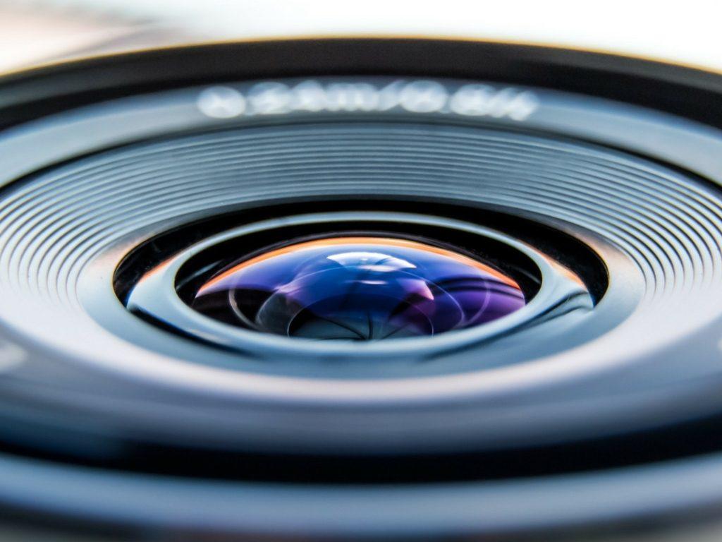 Camera lens pointed up, up close