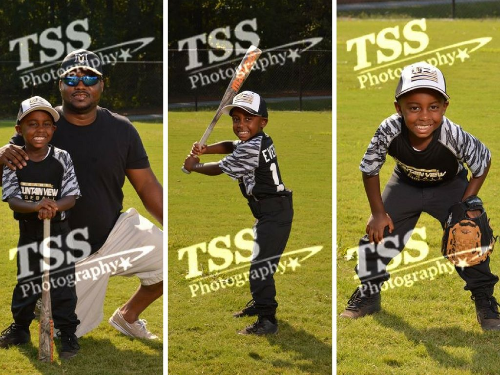 three caption photo of a young boy playing baseball and posing for TSS Photography owner Jennifer Lambertz