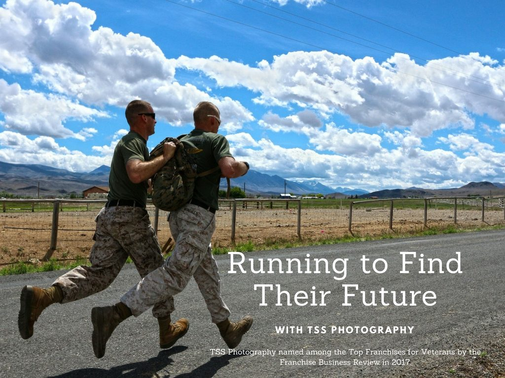 Two military men running along a gravel road in the country creating imagery that they are running to buy a TSS Photography Franchise named a Top Franchise for Veterans
