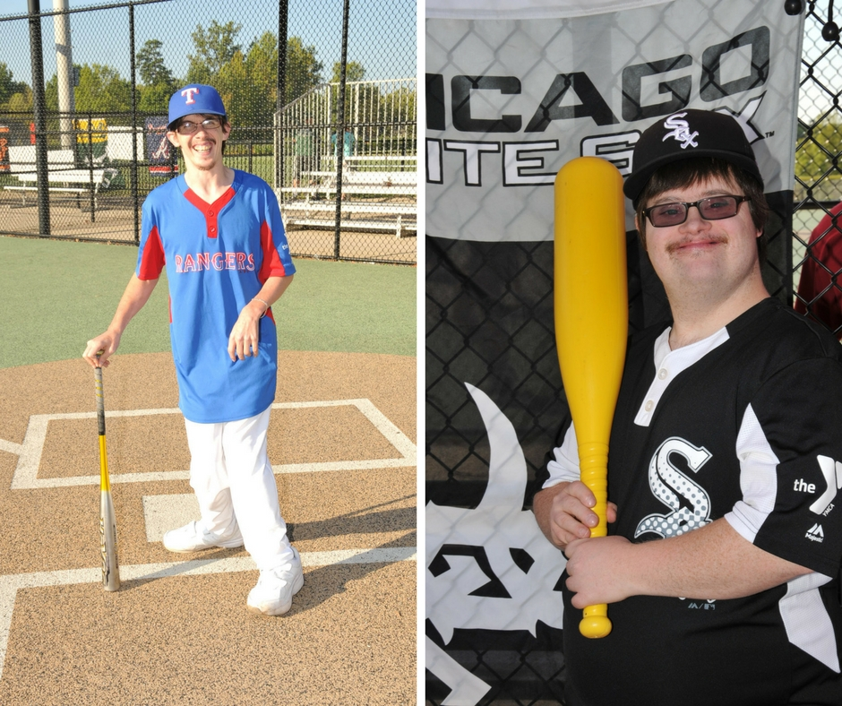 Sports photography of two players with The Miracle League done by TSS Photography Franchise Owner