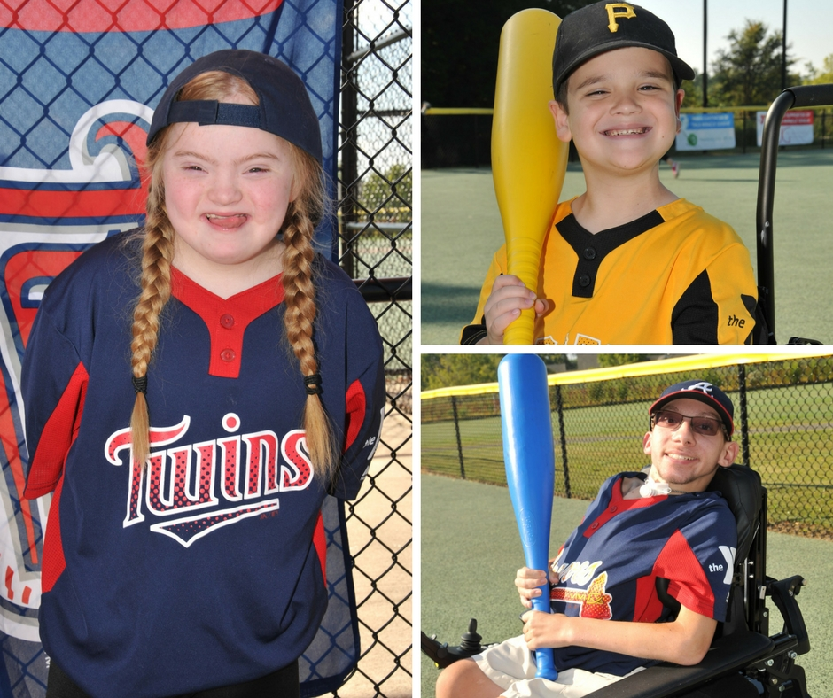 A collage of three players from The Miracle League where sports photography business owner and TSS Photography franchise owner Ashely Barlowe volunteers her photo skills