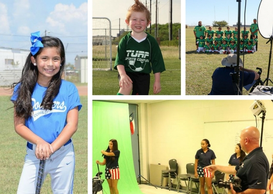 Collage with four photos - one little boy soccer player, one girl softball player and two with TSS Photography franchise owners setting up sports photography shoots