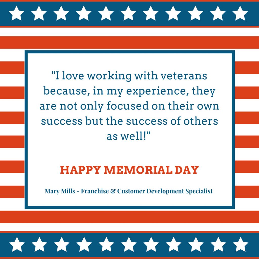 Red, White, and Blue graphic explaining why TSS Photography employee loves working with veterans