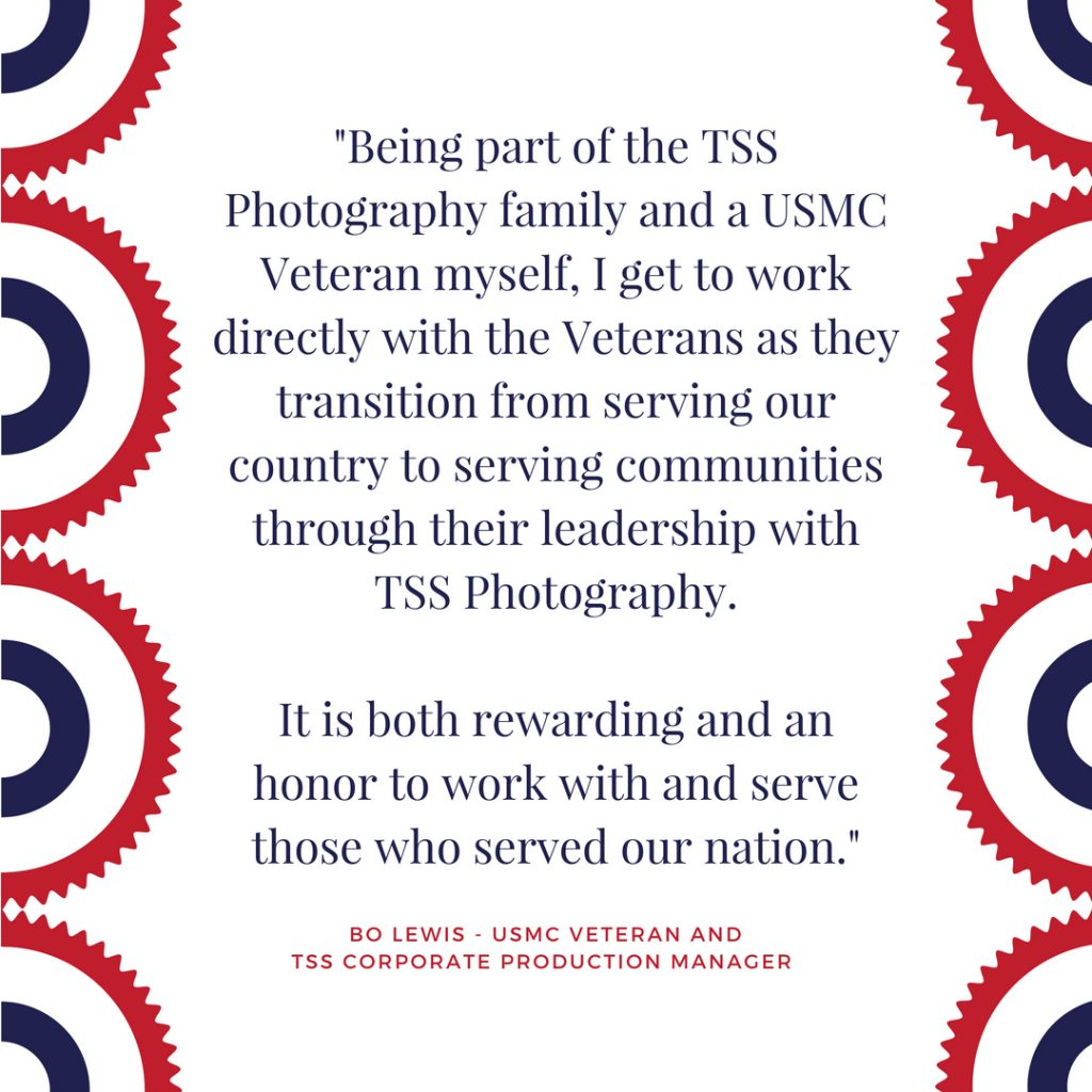 Red, White and Blue graphic explaining why TSS Photography employee loves working with veterans