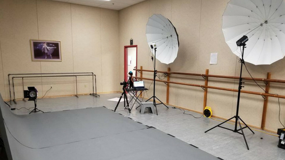 Showing off the background and light kits for a side-by-side dance school headshot gear setup for TSS Photography