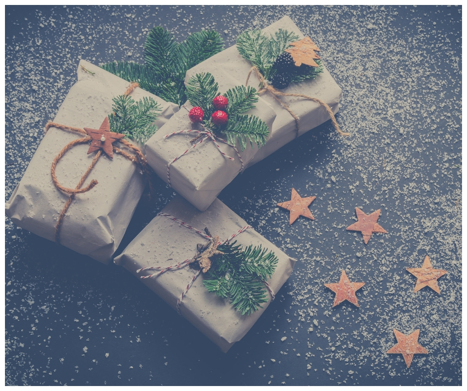 Three presents or gifts wrapped in brown paper and tied up with strings to symbolize the TSS Photography Gift Guide